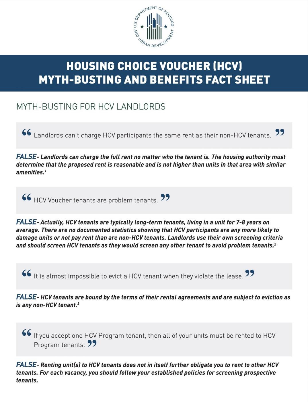 HCV Myth-Busting and Benefits Fact Sheet